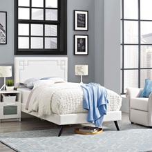 View Product - Ruthie Twin Vinyl Platform Bed with Round Splayed Legs in White