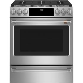 """Café™ 30"""" Smart Slide-In, Front-Control, Dual-Fuel Range with Warming Drawer"""