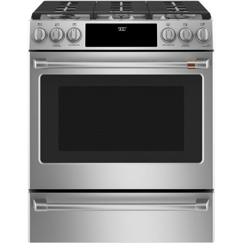 """Cafe™ 30"""" Smart Slide-In, Front-Control, Dual-Fuel Range with Warming Drawer"""