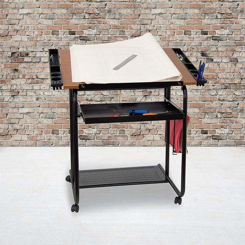 Flash Furniture - Adjustable Drawing and Drafting Table with Black Frame and Dual Wheel Casters