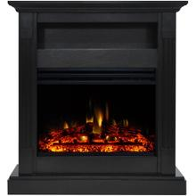 See Details - Cambridge Sienna 34-In. Electric Fireplace Heater with Black Mantel, Enhanced Log Display, Multi-Color Flames, and Remote Control, CAM3437-1COFLG3