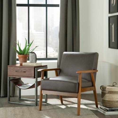 Wood Frame Mid-Century Modern Accent Chair in Steel Grey