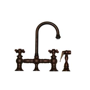 Vintage III entertainment/prep bridge faucet with a short gooseneck swivel spout, cross handles, and a solid brass side spray. Product Image
