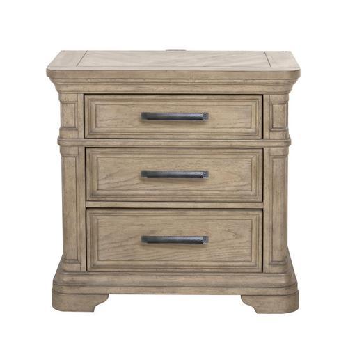 Pulaski Furniture - Monterey 3 Drawer USB Charging Nightstand in Sandcastle Beige