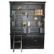 Black Medium Bookcase with Ladder