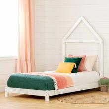 Solid Wood Bed with House Frame Headboard - Pure White