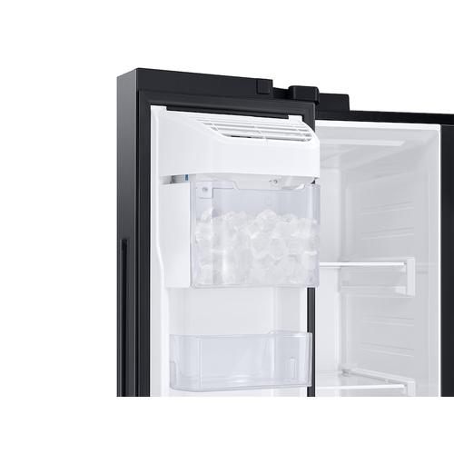 Samsung - 28 cu. ft. Smart Side-by-Side Refrigerator in Black Stainless Steel