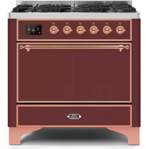 Ilve - Majestic II 36 Inch Dual Fuel Natural Gas Freestanding Range in Burgundy with Copper Trim