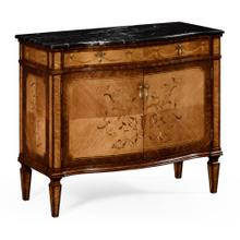 Satinwood side cabinet with floral inlay and marble top