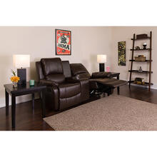 See Details - Allure Series 2-Seat Reclining Pillow Back Brown LeatherSoft Theater Seating Unit with Cup Holders