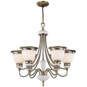 6-lite Ceiling Lamp, Ab/frost Glass Shade, Type A 60wx6