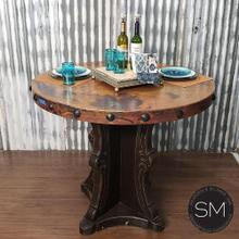 View Product - Designer bar Table Glamorize Natural Hammer Copper Top w/ Nail heads- 1204 E