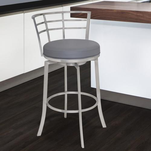 """Armen Living Viper 26"""" Counter Height Swivel Barstool in Brushed Stainless Steel finish with Grey Faux Leather"""