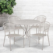"Commercial Grade 35.25"" Round Light Gray Indoor-Outdoor Steel Patio Table Set with 4 Round Back Chairs"