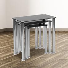 See Details - Riverside Collection Black Glass Nesting Tables with Stainless Steel Legs