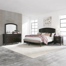 Dark Truffle King Bedroom Set: King Opt Panel Bed, Dresser & Mirror and Night Stand