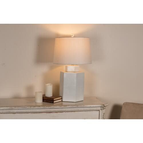 "Hex Tea Jar 14""H Lamp, Matte White"