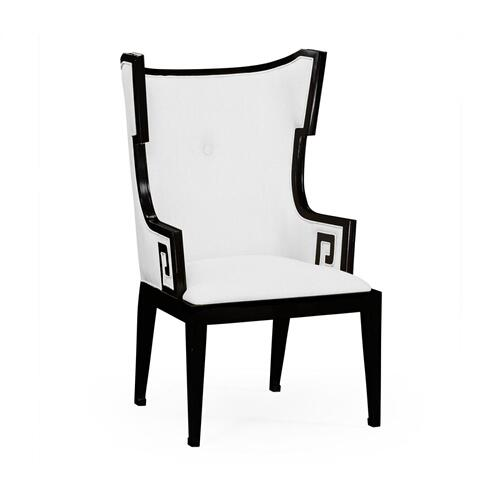 Greek Key Design Biedermeier Black Armchair - COM