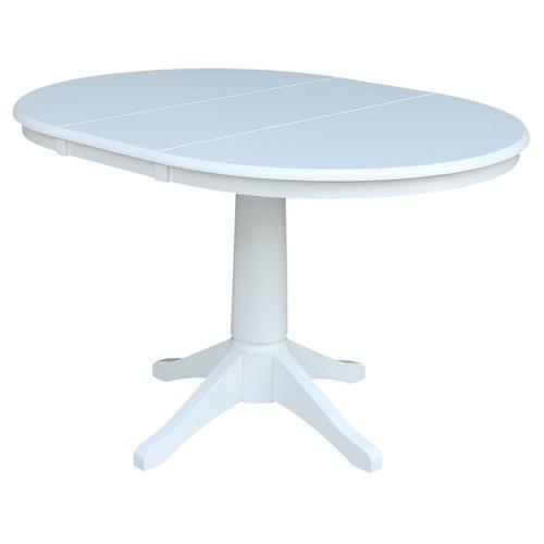 Round Extension Table in Pure White