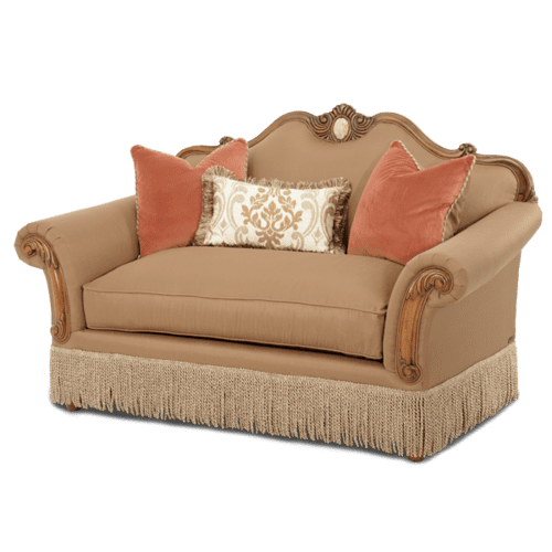 Wood Trim Camelback Loveseat - Opt1