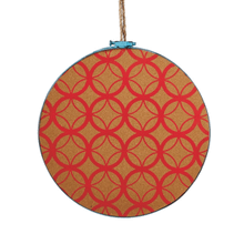 See Details - Large Red Geometric Hanging Cork Board.