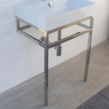 "Floor-standing stainless steel console stand with a towel bar, 23 1/8""W, 17 5/8""D, 30 3/4""H. Washbasin 5231 sold separately"