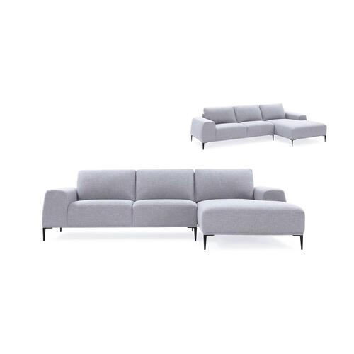 Divani Casa Arthur Modern Grey Fabric Sectional Sofa w/ Right Facing Chaise