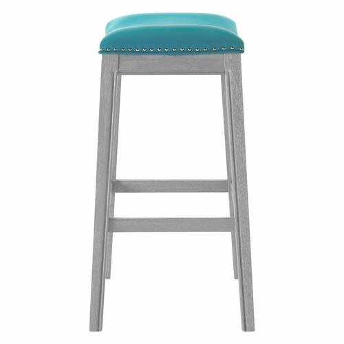 Grover KD PU Bar Stool Ash Gray Frame, Matte Turquoise