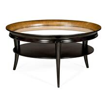 Circular Charcoal & Walnut Cocktail Table with Antique Mirror Top