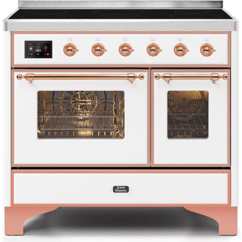Ilve - Majestic II 40 Inch Electric Freestanding Range in White with Copper Trim