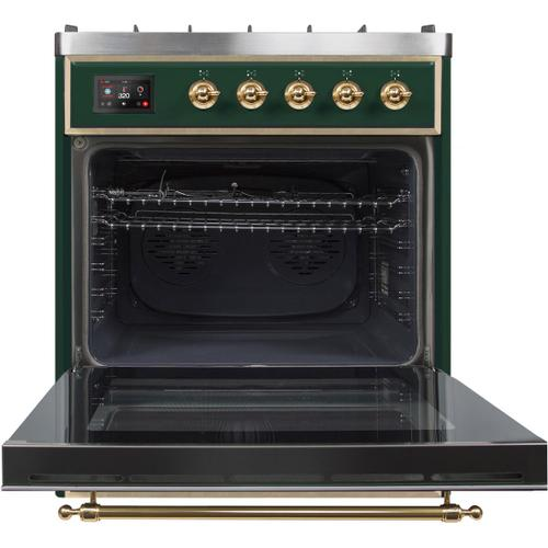 Majestic II 30 Inch Dual Fuel Natural Gas Freestanding Range in Emerald Green with Brass Trim