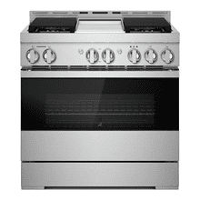 """See Details - 36"""" NOIR™ Dual-Fuel Professional-Style Range with Chrome-Infused Griddle and Steam Assist"""