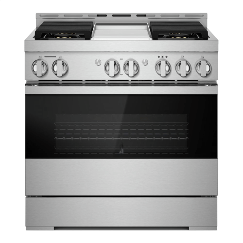 """36"""" NOIR™ Dual-Fuel Professional-Style Range with Chrome-Infused Griddle and Steam Assist"""