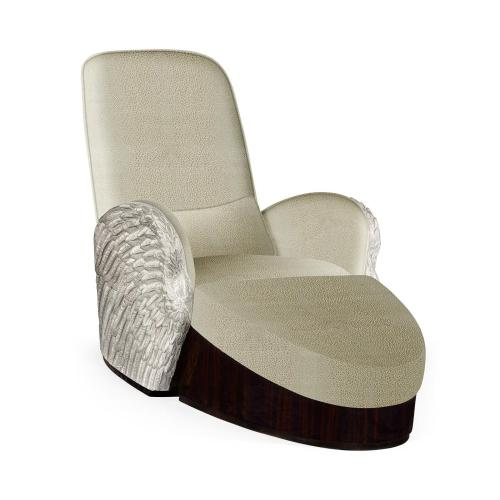 Silver-leaf gilded angel wing chair with ottoman