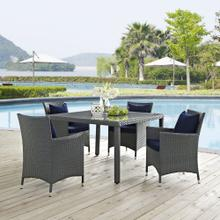 Sojourn 4 Piece Outdoor Patio Sunbrella® Dining Set in Canvas Navy