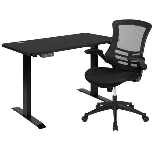 """Gallery - 48""""W x 24""""D Black Electric Height Adjustable Standing Desk with Black Mesh Swivel Ergonomic Task Office Chair"""