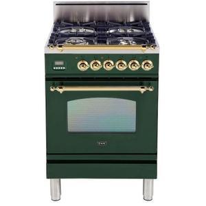 Nostalgie 24 Inch Gas Liquid Propane Freestanding Range in Emerald Green with Brass Trim