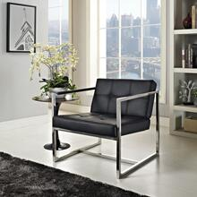 Hover Upholstered Vinyl Lounge Chair in Black