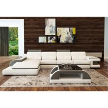 Divani Casa 6122C Modern White and Grey Bonded Leather Sectional Sofa