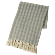 Grey & Natural Multi Pattern Woven Throw