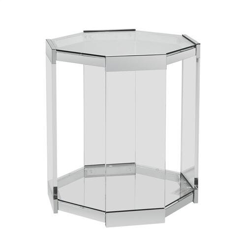 Tempered Glass Top and Shelf Side Table, Clear and Chrome