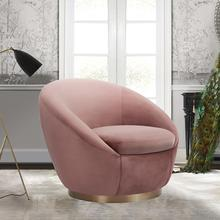 See Details - Yves Blush Velvet Swivel Accent Chair with Gold Base