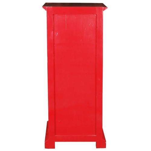 Storage Cabinet - Distressed Red
