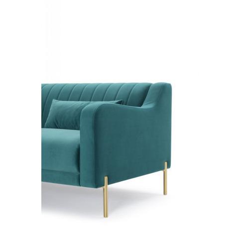 Divani Casa Flow Modern Teal Velvet Sectional Sofa w/ Left Facing Chaise