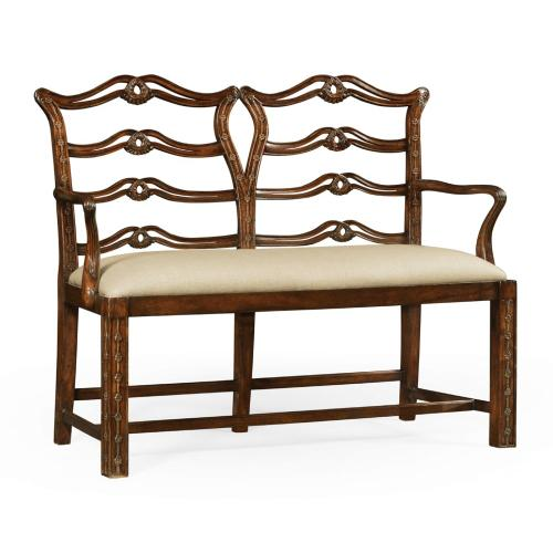 Chippendale style double bench with pierced back