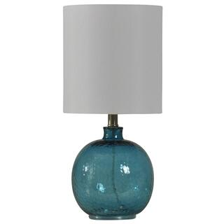 Mini Spanish Glass Ball Lamp in Cerulean Finish White Drum Fabric Shade