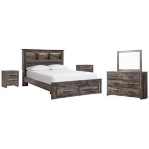 Ashley - Queen Bookcase Bed With 2 Storage Drawers With Mirrored Dresser and 2 Nightstands