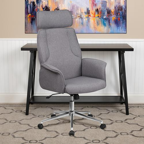 Gallery - High Back Gray Fabric Executive Swivel Office Chair with Chrome Base and Fully Upholstered Arms