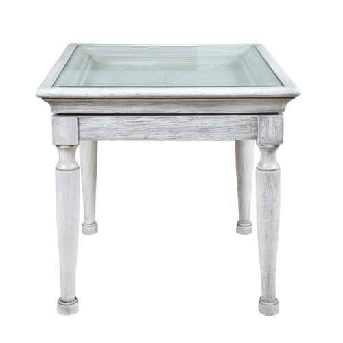 Lamp Table, Available in Distressed White Finish Only.