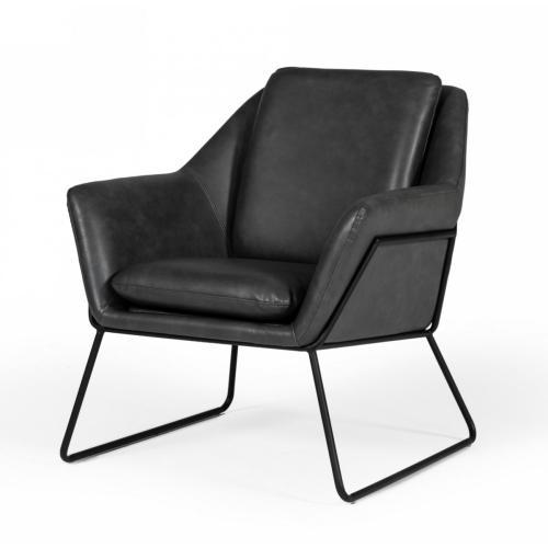 Modrest Jennifer - Industrial Dark Grey Eco-Leather Accent Chair